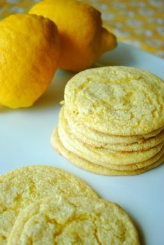 Easy Lemon Cookies: 1 box of lemon cake mix, 1 tub of Cool Whip, & 1 egg.  Mix ingredients together and drop tablespoons onto greased cookie sheet.  Bake at 350 for 10 minutes.
