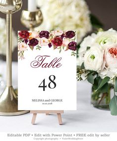 Editable Marsala Wedding Table Number, Printable Burgundy Blush Pink Floral Table Number, Modern Cal