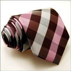 Pink/Brown Checkered Necktie