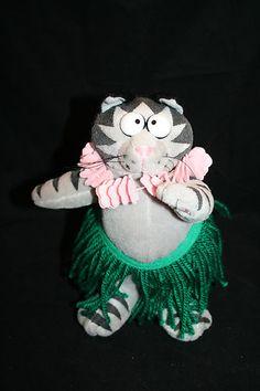 "Kliban Plush Fat Cat Feista 8"" Wearing Hula Skirt & Lei Hawaiian Hawaii Stuffed"