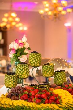 pineapple filled with fruit berries....