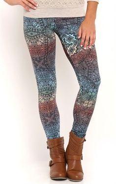 Deb Shops Kaleidoscope Print Leggings $10.00
