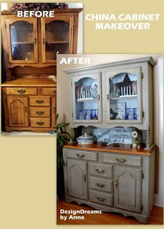 Farmhouse China Cabinet Makeover (I have a hutch just like this. I have been dying to paint it but a little chicken. Now I can't wait!!  Carola)