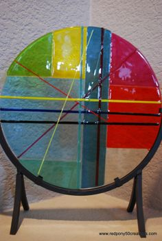 Pick Up Stix Multi Color  Fused Glass Plate by RedPony50Creations, $175.00