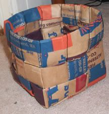 Woven baskets from paper grocery bags are a great idea for recycling and storing sewing supplies!
