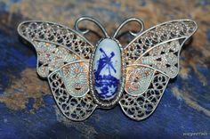 Scandinavian Vintage Plata afiligranada azul cobalto Porcelana broche de mariposa
