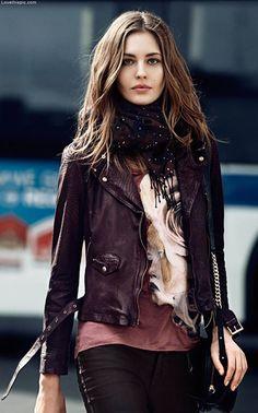 Leather fashion jacket leather scarf fashion photography