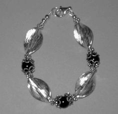 Margarets Sterling Silver Leaf Beads and Onyx Beads