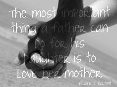 The most important thing a father can do for his daughter is to love her mother.