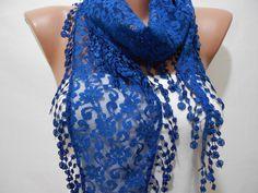 Cobalt Blue Lace Cowl Scarf by ScarfClub