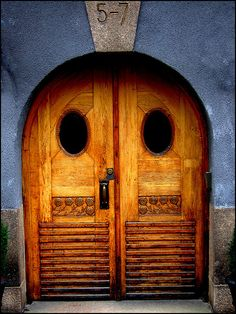 Stockholm, Sweden~Owlish door photo by annsofic, via Flickr   ..rh
