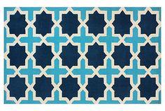 Abi Rug, Aqua/Navy/Ivory on OneKingsLane.com