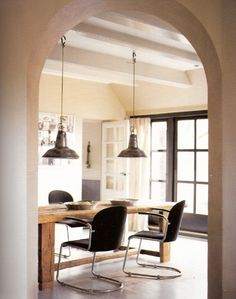 I like the idea of painted grey doors to go to the sunroom from the dining room.