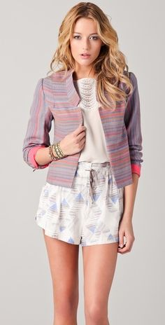 linen jacket, summer fashions, mixing patterns, cuff, soft colors