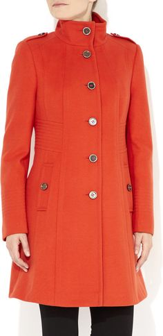 Orange Multistitch Funnel Coat $115.00  November Finds - 7 Colorful Coats    There is nothing like a bright and colorful coat to brighten up a dreary day. Bright colors gives a coat a fashionable edge, and that's why each and every one of my fabulous finds are perfect for the fall season.    http://toyastales.blogspot.com/2014/11/november-finds-7-colorful-coats.html