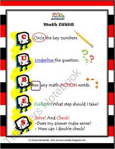 Math Mnemonics- Math CUBES Problem Solving Steps product from A_Teachers_Idea on TeachersNotebook.com