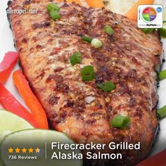 "Firecracker Grilled Alaska Salmon | ""For people who don't like the strong flavor of salmon, this recipe will make for a salmon dish they could really like. I let it sit overnight at least- I usually shoot for 24 hours and we grill the salmon in a foil pouch to keep the juices in. Always a hit!"""
