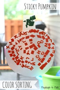 Fun way to help kids learn orange and green. {Playdough to Plato}