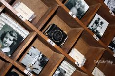 DIY birthday photo display, perfect for celebrating a loved one via www.rustyroostervintage.blogspot.com Vintage Pottery, Vintag Camera, Photo Displays, Vintage Cameras, Vintag Photo, Display Vintag, 50Th Birthday, Birthday Photos, Camera Display