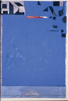 "Richard Diebenkorn ""Blue With Red"" 1987. Color woodcut.  Diebenkorn was one of the most significant West Coast painters during the latter half of the 20th Century.  The artist's distinguished career, which began in the 1940's, is characterized by three styles, Abstract Expressionism, Figuration, and his best known ""Ocean Park"" series.  Inspired by the Santa Monica coast where Diebenkorn lived and worked until 1955, the Ocean Park paintings are geometric studies in light and color."