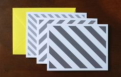 Grey Striped Notecards