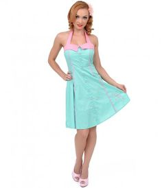 Mint Green and Pink Dotted #Flamingo Dress, A #Pinup Essential. #uniquevintage