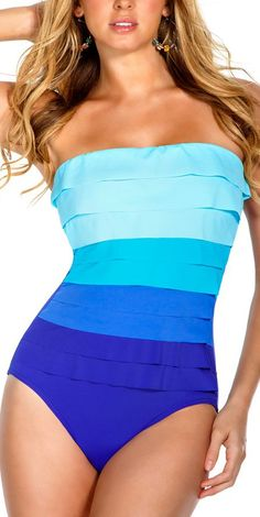ombre strapless one piece suit