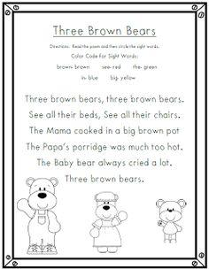 Goldilocks and the Three Bears Poem