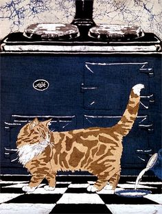 """Aga Cat"" batik by Buffy Robinson cat"