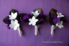 """clay stephanotis and paper violets boutonnieres DIY using the book """"How To Make 100 Paper Flowers"""" on Amazon now"""