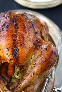 Christmas Menu : Roasted Turkey With Herb Butter And Roasted Shallots
