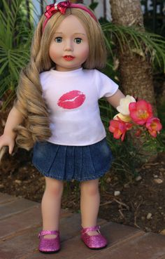 Valentine Kiss Outfit for 18 inch dolls and American Girl at www.harmonyclubdolls.com