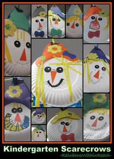 Scarecrows on Paper Plates in Kindergarten (via Scarecrow RoundUP RainbowsWithinReach)
