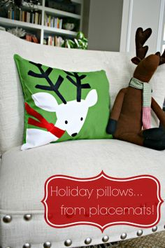 Easiest, cheapest DIY pillows ever. And for the holidays too! :)