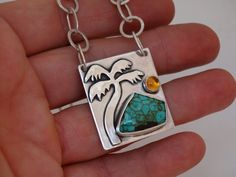 Turquoise Waters necklace - For the Island girl in all of us! 100% hand fabricated in sterling silver with turquoise and citrine bezel set in fine silver by JoDeneMoneuseJewelry, $165.00