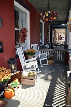 Fall decorating: front porch.