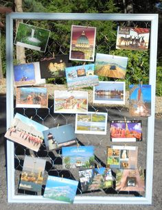 Postcard Display - love this display idea that could be used with a simple clear plastic stand on a table