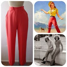 Vintage 1940s 1950s Coral Pink gabardine western cowgirl pearl snap pants trousers M/L on Etsy, $125.00