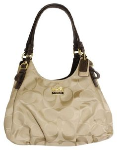 Coach Madison Signature Maggie Shoulder Bag Purse Tote 18762 Khaki Mahogany