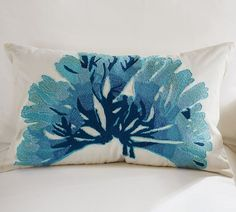 Blue Coral Embroidered Lumbar Pillow Cover | Pottery Barn
