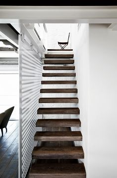 Love these reclaimed wood stairs.