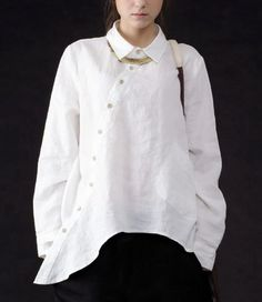 Irregular Hem Long Sleeve Linen Shirt CustomMade Fast by zeniche, $65.00