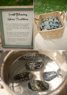 irish stone blessing makes for a unique wedding idea! Guests write something on stones and toss into water. Kindof cool!