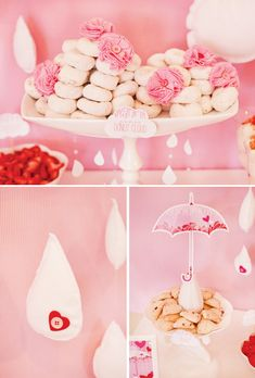 Rain shower Baby Shower Brunch & Beverages Ideas! *** Make some pink fabric flowers to throw around the tables***