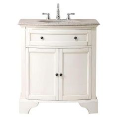 Home Decorators Collection Hamilton 31 in. W x 22 in. D Vanity in Antique White with Granite Vanity Top in Beige-0567400410 at The Home Depo...