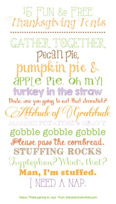 fall fonts free, free fall fonts, free thanksgiv, free font, 15 fun, thanksgiv font, pecan pies, free downloadable fonts, pumpkin pies