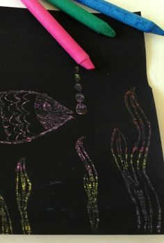 I loved doing this as a kid - crayon scratch art.  Do you have a fav from your childhood?