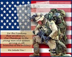 Our gratitude for all the men and women who serve in the military to protect our families, our country, and our freedoms!  Thank you!!!