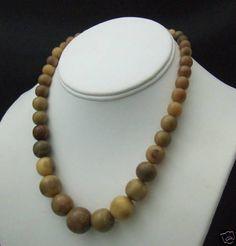 Early Vintage Stag Horn Antler Carved Bead Necklace | eBay