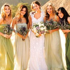 Bridesmaid dresses- different shades of same color.  I love this idea, so unique